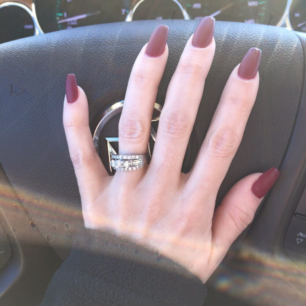 Matte wine colored stiletto nails with a square tip - Yelp