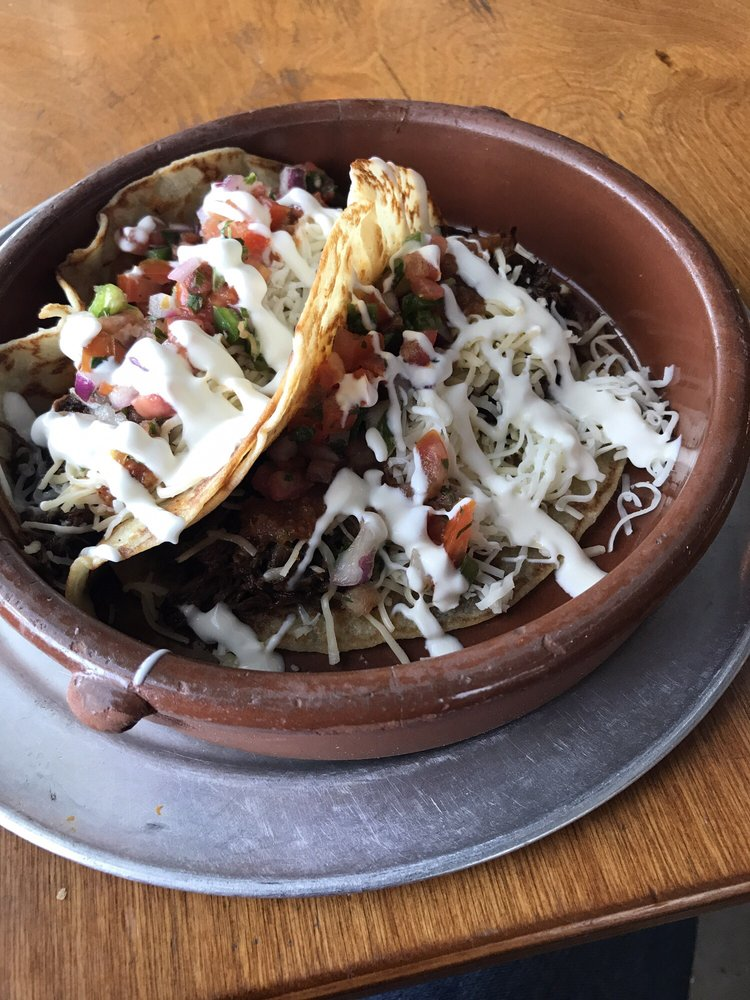 Short rib tacos with pico de gallo, red sauce, cheese and ...