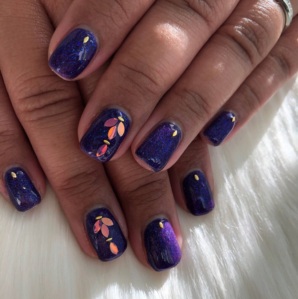 Custom glitter gel manicure with iridescent nail charms - Yelp