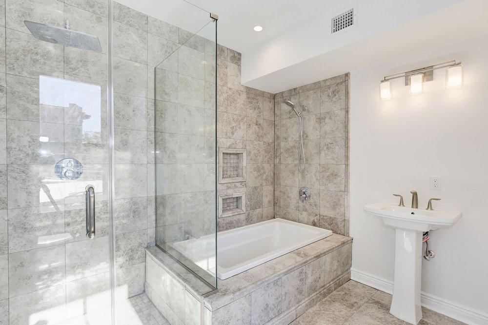 Gut Bathroom Renovation With Marble Tile Heated Floor Rain Shower - How to gut a bathroom