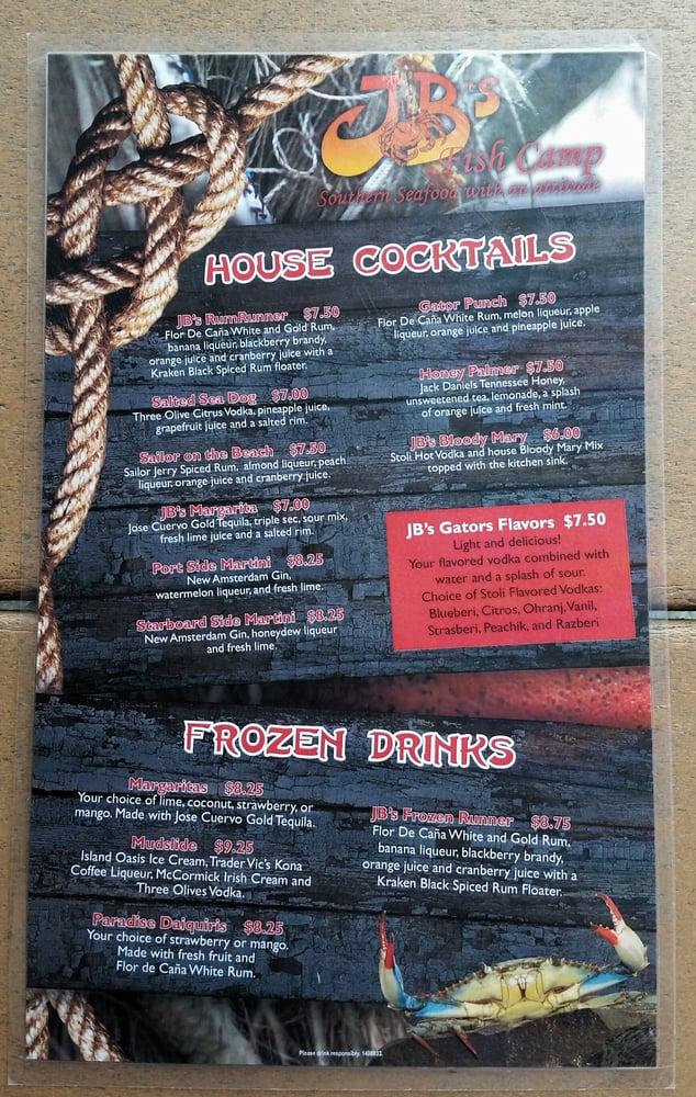 Drink menu yelp for Fish camp menu