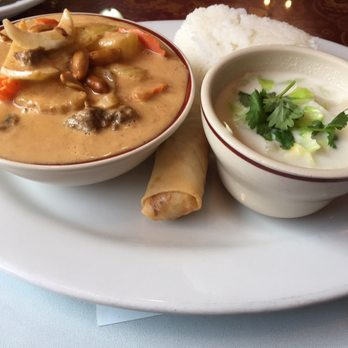 ... massaman curry lunch special with coconut soup, egg roll, jasmin rice