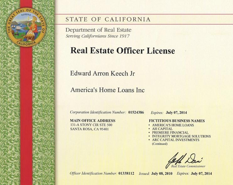 ca dept. of real estate corporate license - yelp