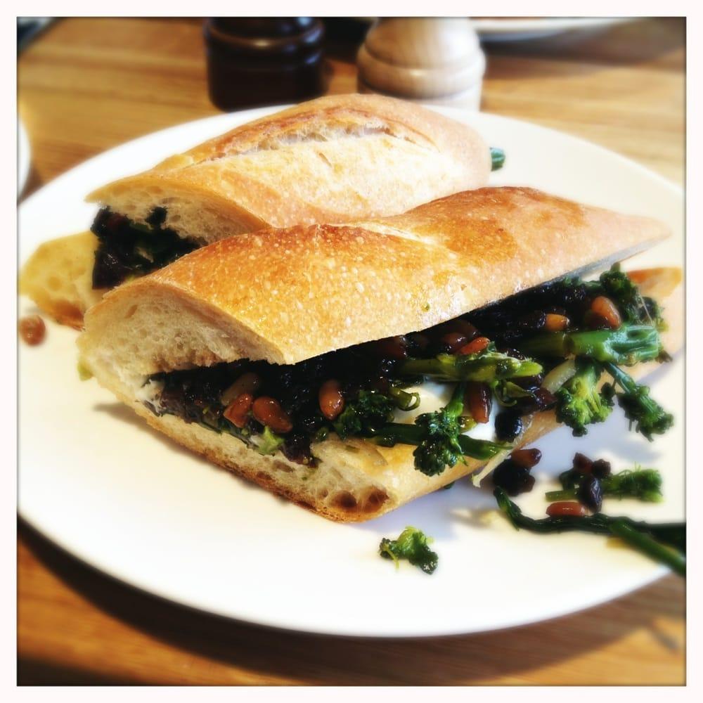 Ficelle sandwich with broccoli, burrata, pine nuts ...