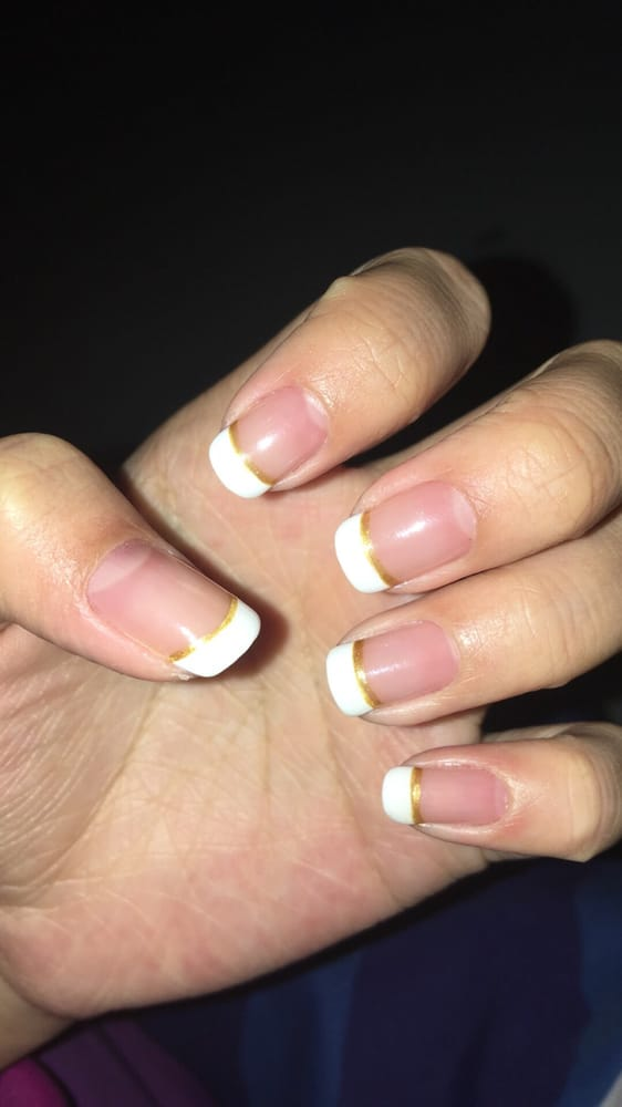 Gel French Tip Manicure with a Gold Line underneath - Yelp