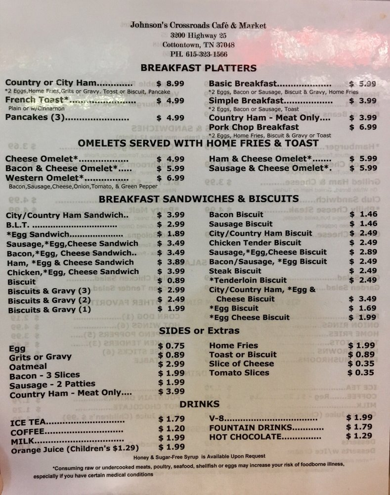Johnson's Crossroads Cafe & Market: 3200 Highway 25, Cottontown, TN
