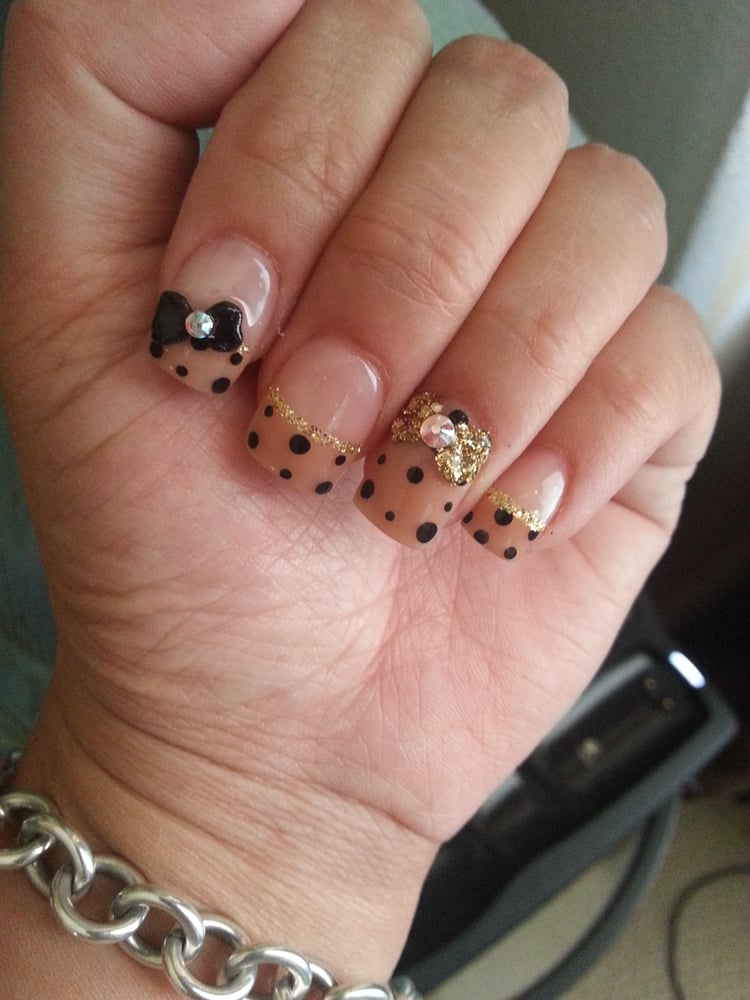 freaking cute nude polka dot french nails with 3d bows and crystals ...