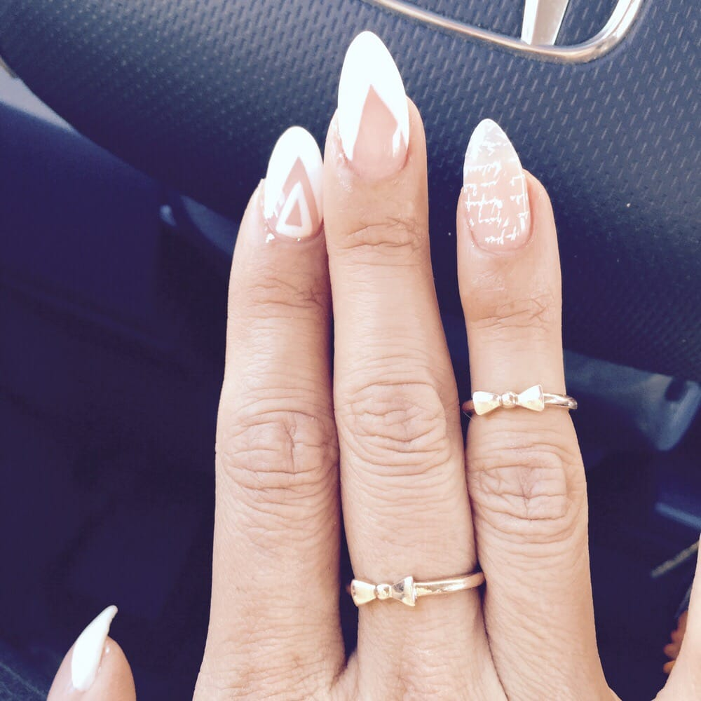 CustomModern V french almond shape gel nails by Lucy! - Yelp