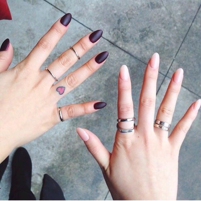I got a deep burgundy matte almond nails while my friend got a ...
