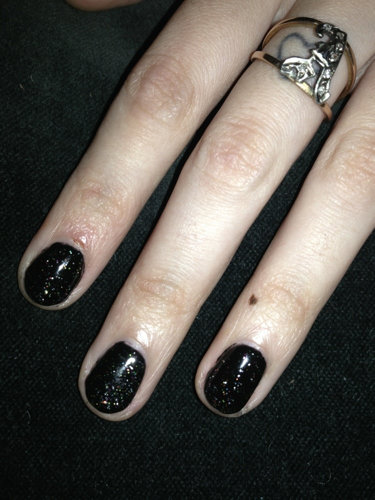 Got Black Glitter Gel Nails From A Fellow Name Peterwas Very