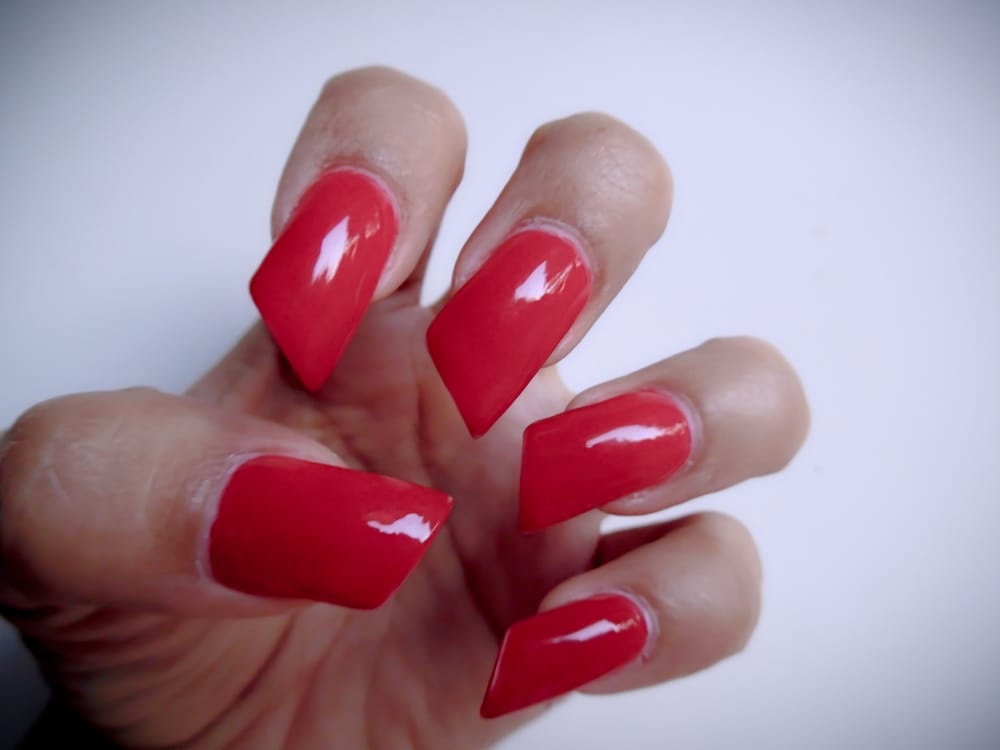 lipstick nail shape done by Hanna - Yelp
