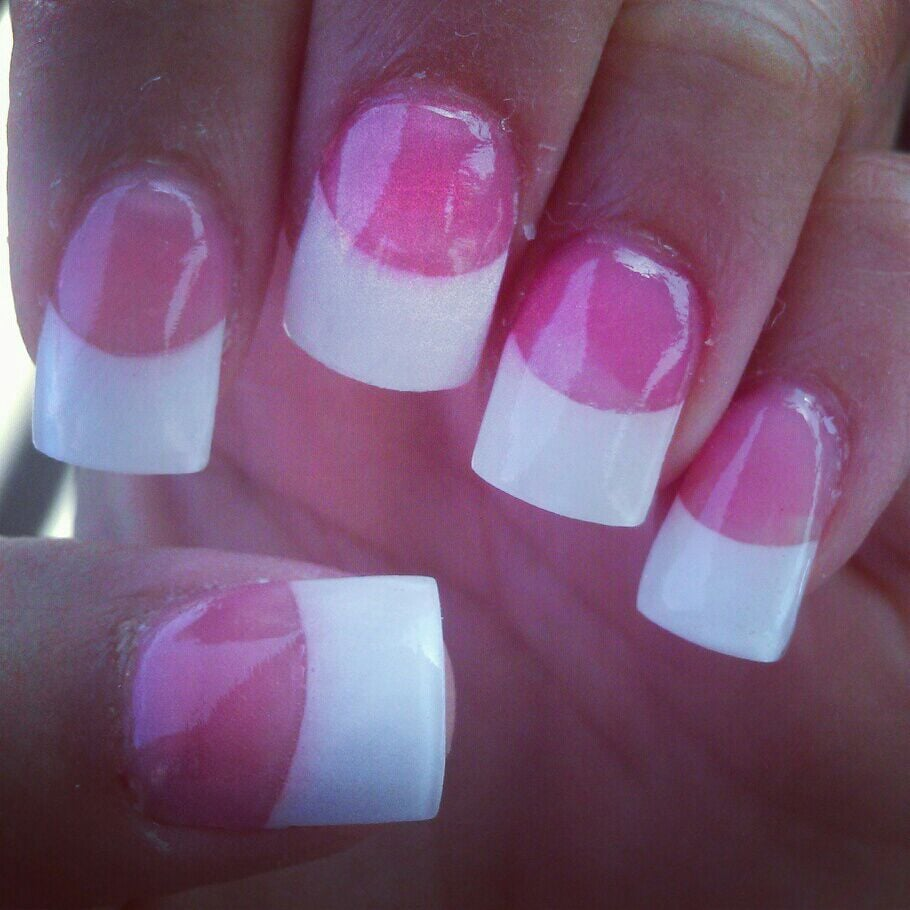 Pink powder, white tip acrylics - Yelp