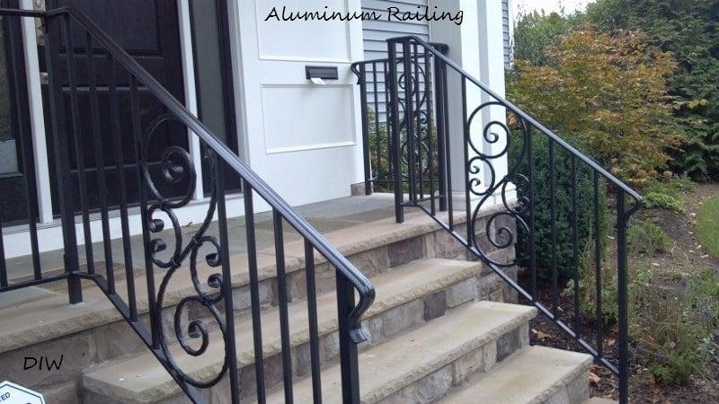 decorative aluminum railing. Photo of Delyannis Iron Works  Paterson NJ United States Aluminum Railing with straight ballusters decorative scroll