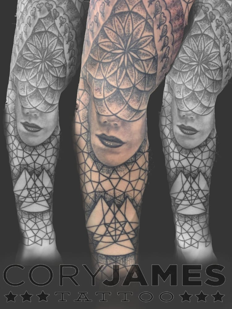 Geometric black and grey work by tattoo artist cory james for Cory james tattoo