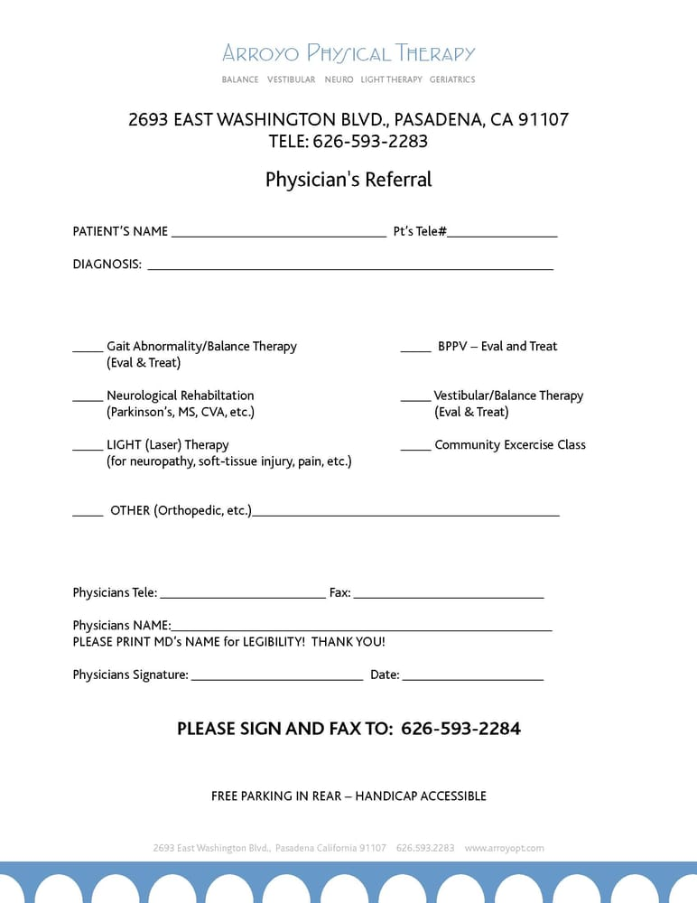 prescription form print and have your md fill out and give us a