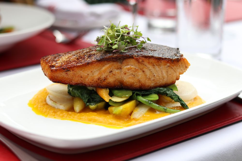 SALMONE AL FORNO (carrot ginger puree, snow peas, turnips) - Yelp