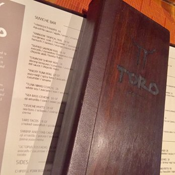 Toro Latin Restaurant Rum Bar Menu