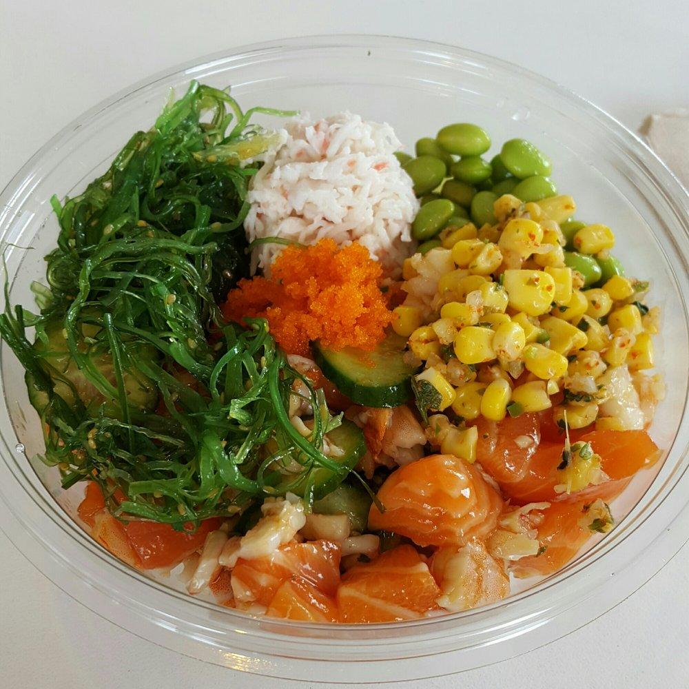 Brown rice bowl with salmon poke house sauce corn for Fish me poke menu