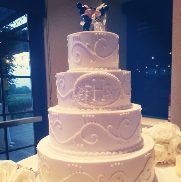 Our wedding cake with Mickey and Minnie Mouse toppers (provided by ...