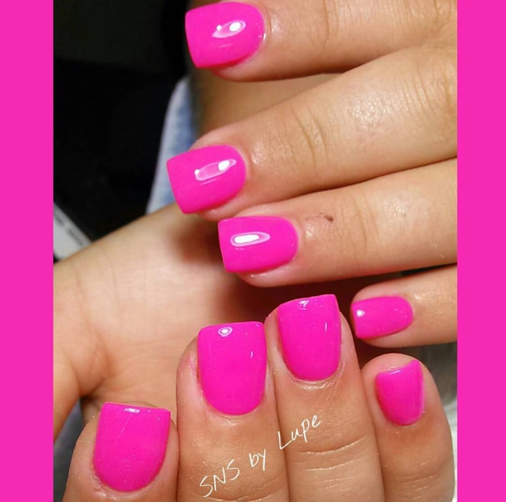 Powder Nail Polish Near Me: Hot Pink SNS Nails By Lupe !