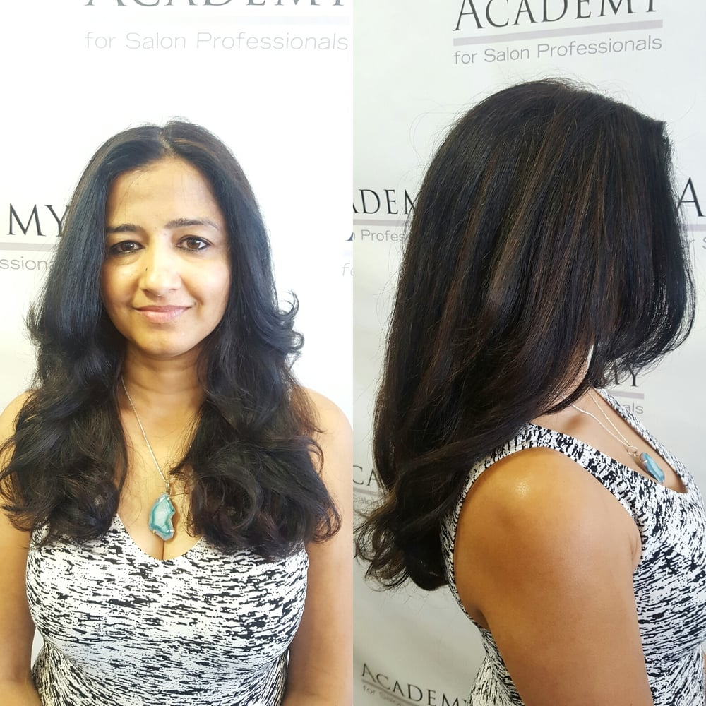 Partial highlights with a heavily layered cut styled with for Academy of salon professionals santa clara