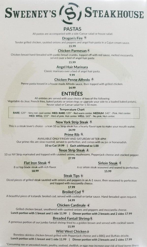 Sweeney's Steakhouse: 1713 Rostraver Rd, Belle Vernon, PA