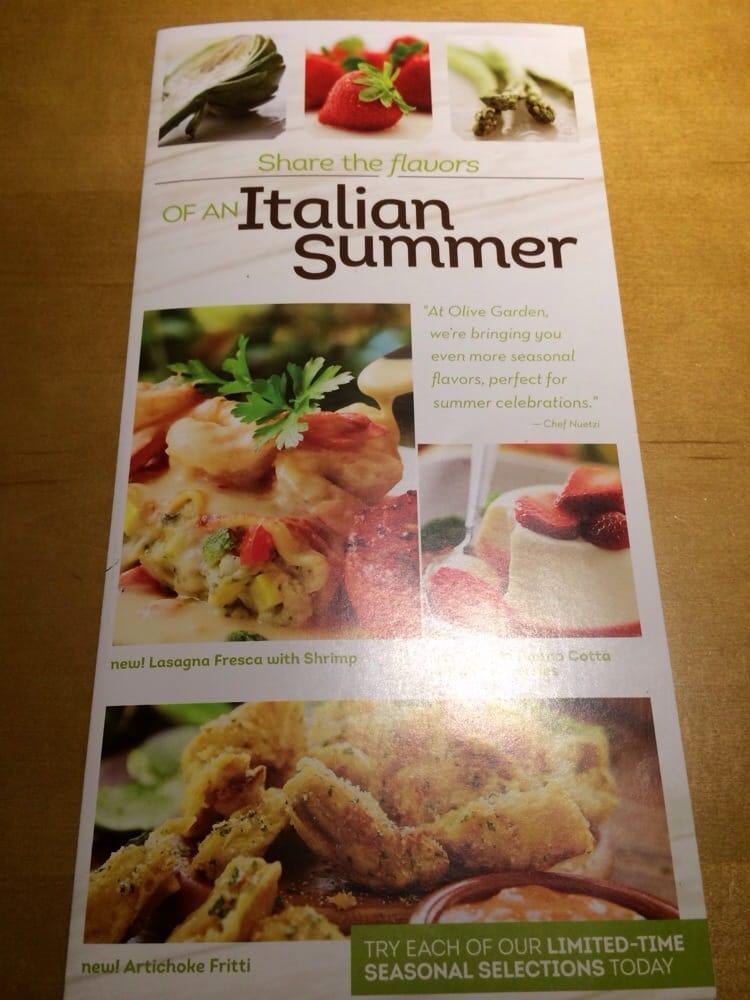 Pizza Olive Garden Menu: Photo Of Menu 7/30/14