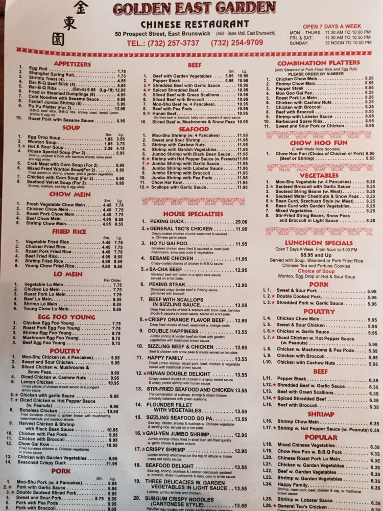 Golden East Garden Restaurant East Brunswick Nj Menu