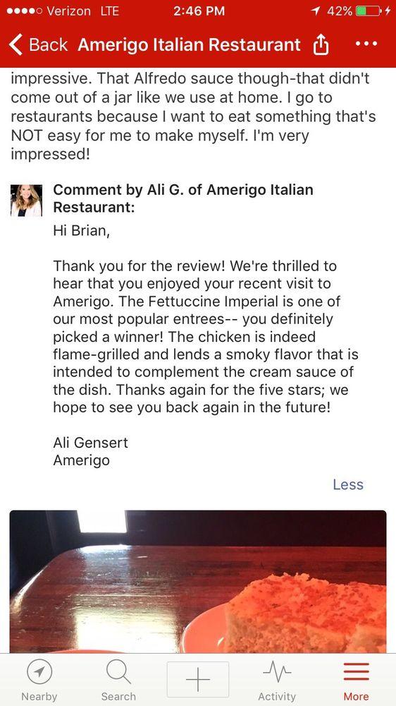 Amerigo Italian Restaurant Memphis Tn