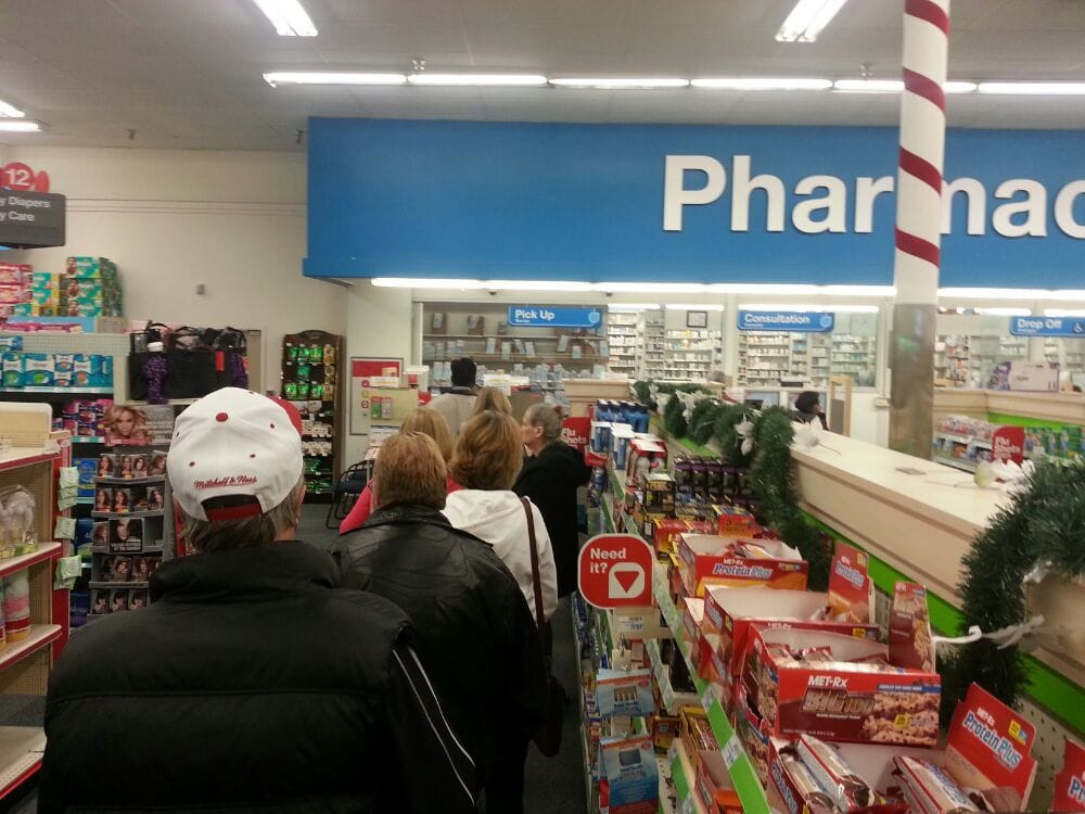 Waiting in line at the drugstore summary