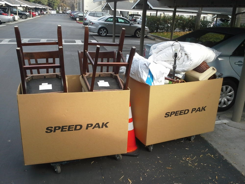 Speed packs are giant rolling cardboard boxes which hold for Moving items into place