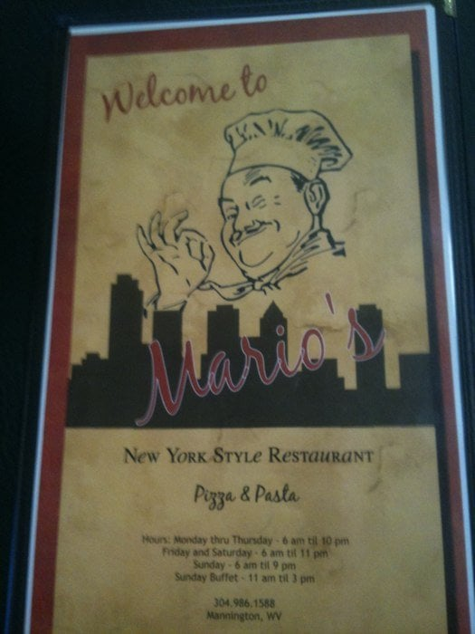 Mario's Ny Style Pizza: 5 Rainbow Plz, Mannington, WV