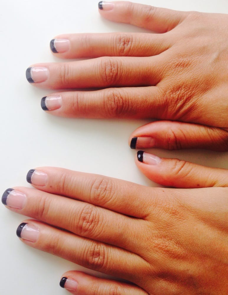 French Manicure with Black Tips, Silver Under lining, and Gel Top ...