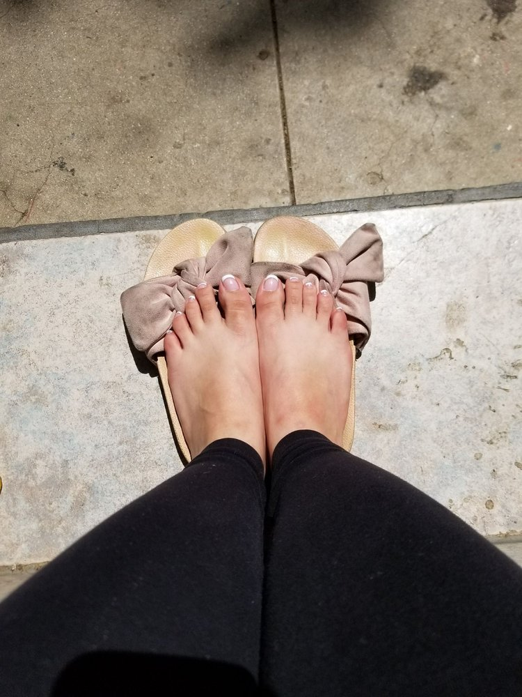 6ecd247a7 My French tip pedi! Don t mind my dirty sandals and ugly toes - Yelp
