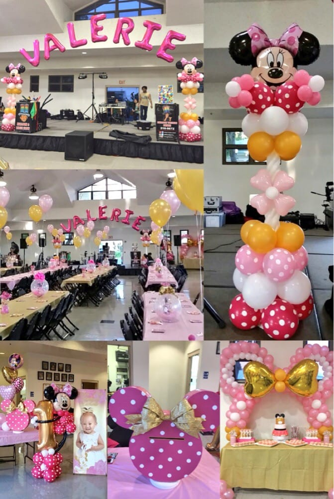 Beautiful Pink Gold Minnie Mouse Theme Balloon Decorations