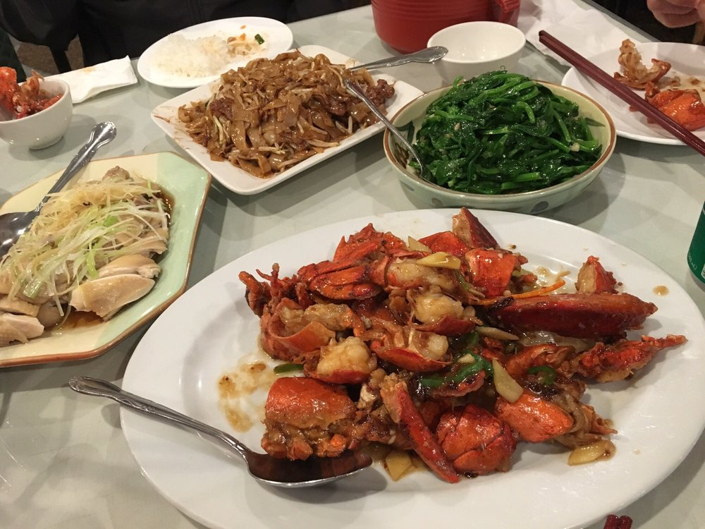 Lobster, ginger chicken, beef chow fun, and snow pea leaves - Yelp