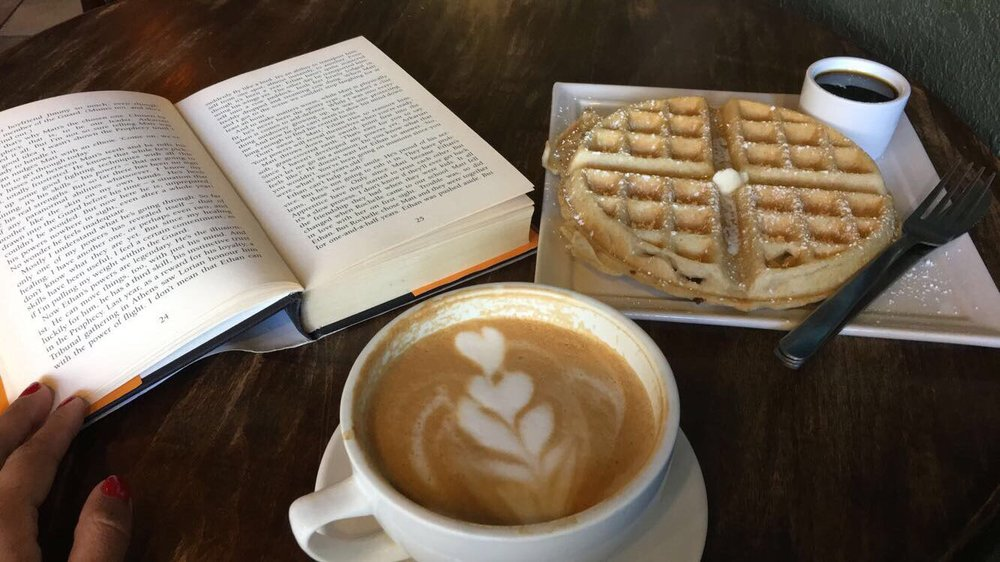 Image of honey cinammon latte paired with belgian waffle