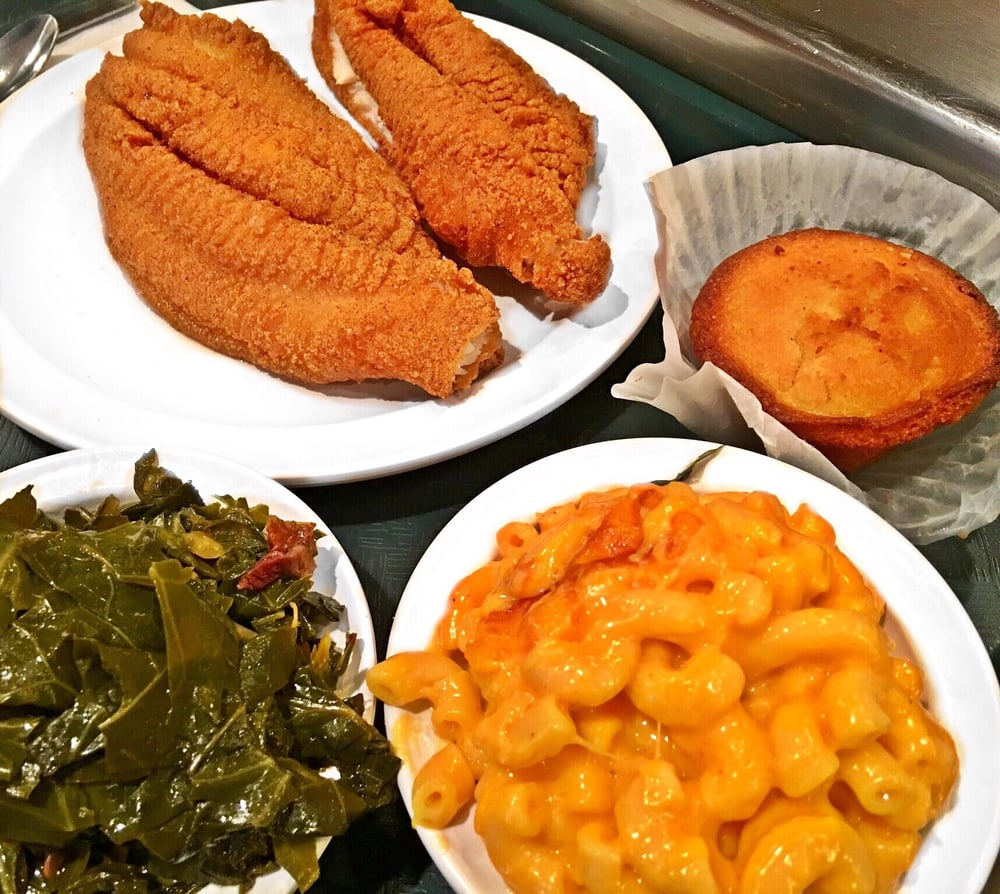 Fried fish mac and cheese greens and cornbread yelp for Fish and cheese