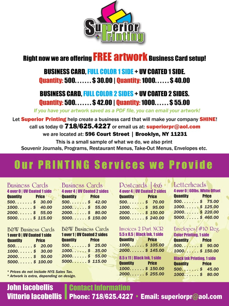 Superior Printing - Printing Services - 596 Court St, Brooklyn, NY ...