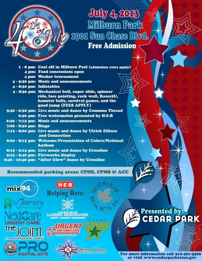 Cedar Park Fourth of July Celebration: 1901 Sun Chase Blvd, Cedar Park, TX