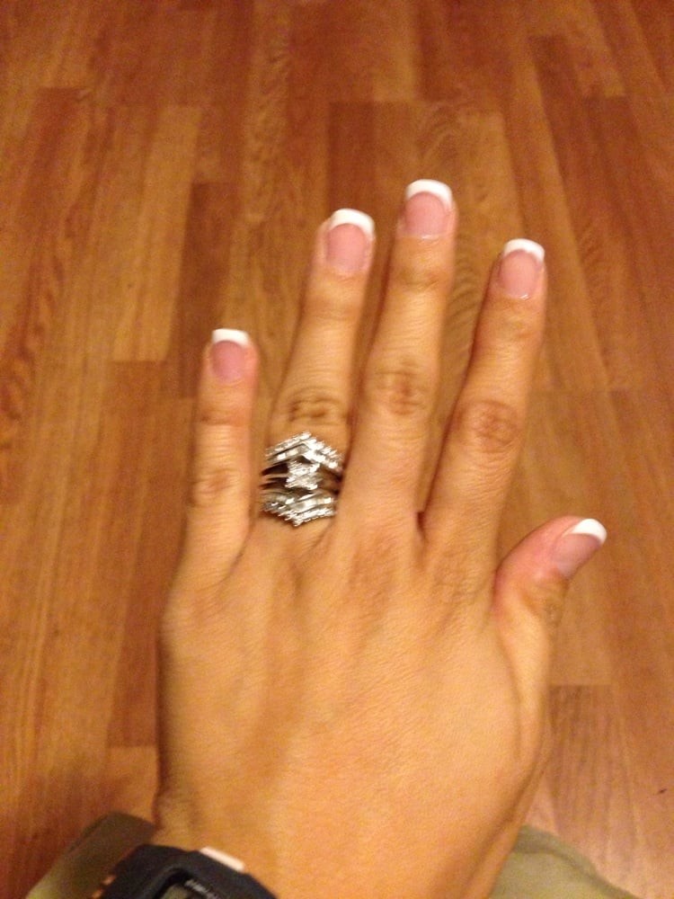 My white/pink acrylic over my natural nails for the perfect frenchy ...