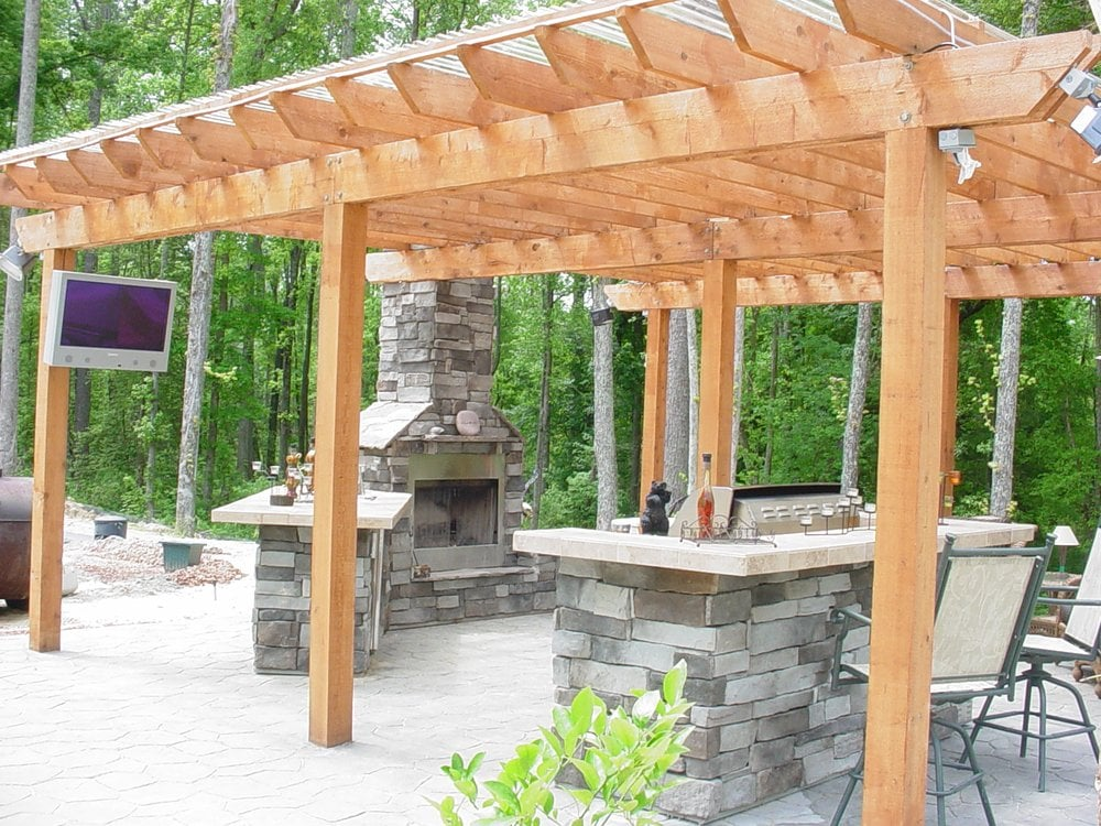Outdoor Fireplace Kitchen And Pergola Yelp
