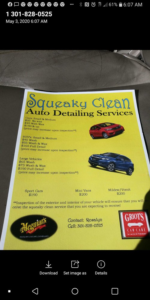 Squeaky Clean Auto Detailing: 4731 Beech Rd, Temple Hills, MD