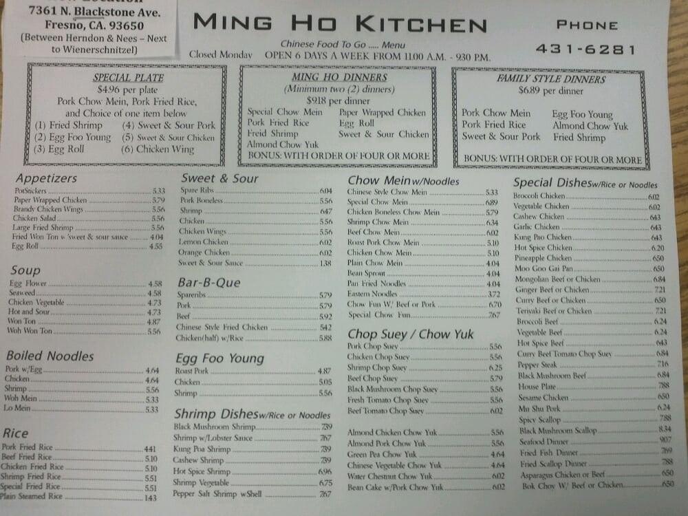 Ho Ho S Chinese Food Menu