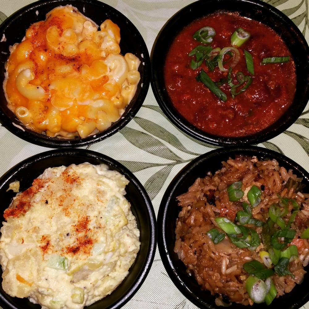 4 Sides... Mac N Cheese, A.k. Chili, Harlem Potato Salad