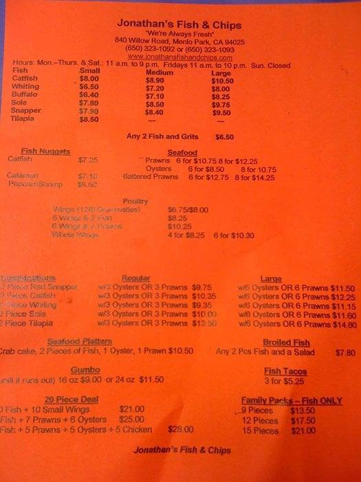 Jonathan 39 s fish chips menu yelp for One fish two fish menu