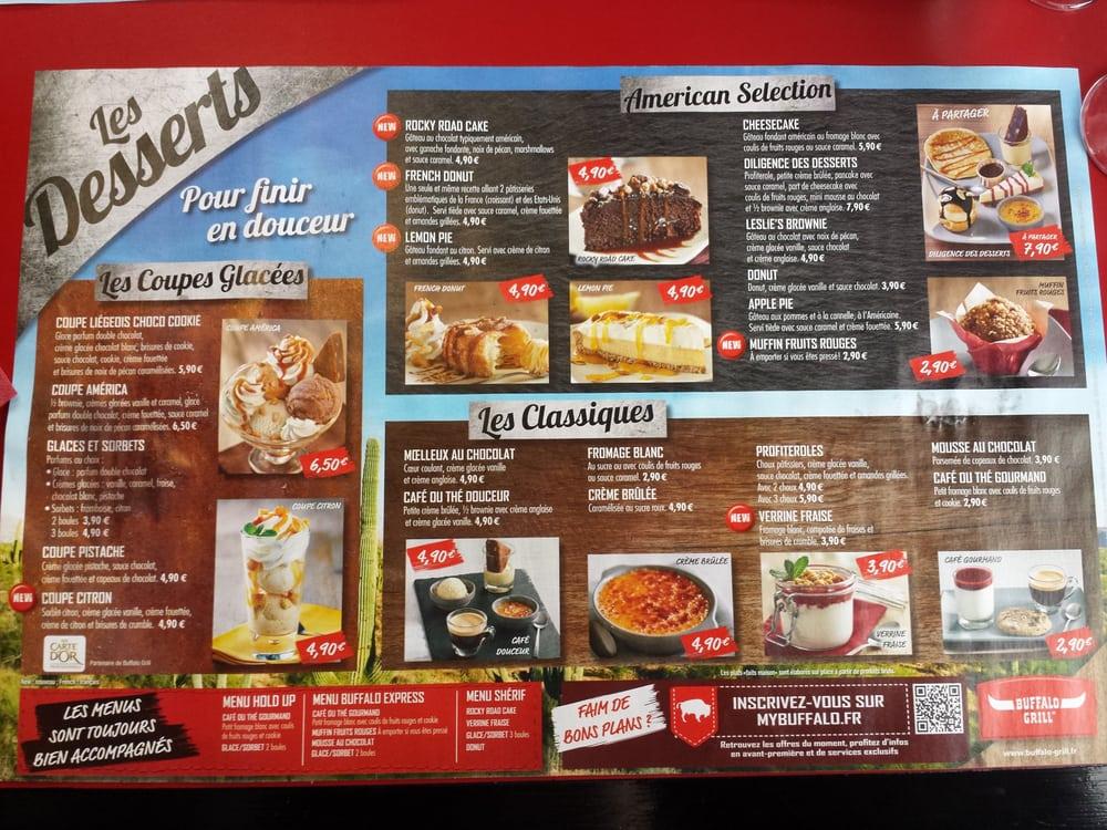 Carte Menu Buffalo Grill.Carte Des Desserts Yelp