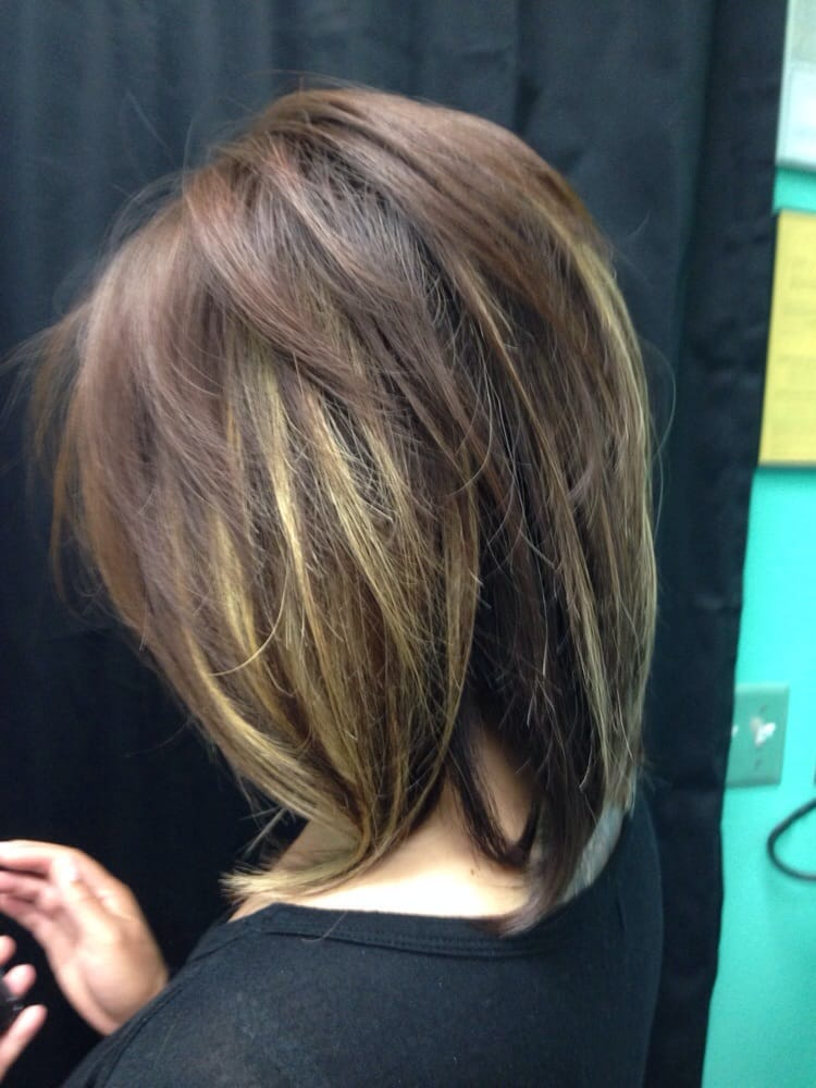 Short Layered Cut With Peek A Boo Highlights Yelp