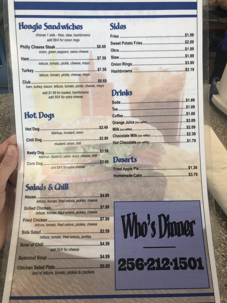 Who's Diner: 1560 Hwy 22, Alexander City, AL