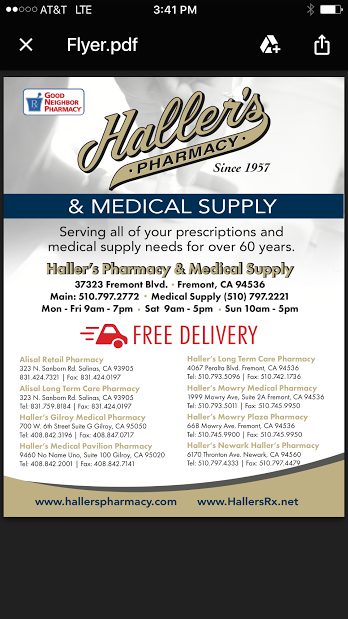 Haller's Pharmacy And Medical Supply: 37323 Fremont Blvd, Fremont, CA